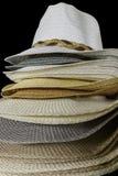 Fashion hats showcase on open market shop Stock Photography