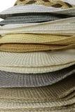 Fashion hats showcase on open market shop Stock Images