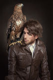 Fashion hawk. Fashion portrait of handsome guy with a hawk Stock Image