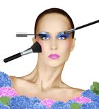 Fashion Face With Various Makeup Brushes Isolated on White Royalty Free Stock Image