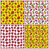 Fashion, Hearts, Lips and Sweets Seamless Pattern Set. Love and Fashion Backgrounds in Retro Style Stock Images