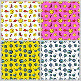 Fashion, Hearts and Vinyl Seamless Pattern Set. Love and Fashion Backgrounds in Retro Style Stock Photo