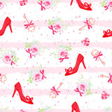 Fashion heels shoes and flowers seamless vector print Stock Photo