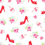 Fashion heels shoes and flowers seamless vector print Stock Photography