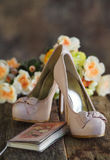 Fashion high heel shoes and day planner Royalty Free Stock Photos