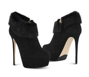 Fashion high heel shoes with fur Royalty Free Stock Photography