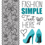 Fashion high heel shoes with lace. Vector illustration Stock Photos