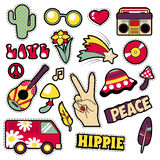 Fashion Hippie Badges, Patches, Stickers. Van Mushroom Guitar and Feather in Pop Art Comic Style. Vector illustration Royalty Free Stock Images