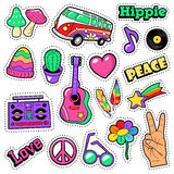 Fashion Hippie Badges, Patches, Stickers - Van Mushroom Guitar and Feather in Pop Art Comic Style. Vector illustration Stock Image