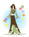 Fashion hippie style. Young beautiful woman wearing hippie style fashion Stock Photo