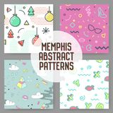 Fashion Hipster Abstract Memphis Seamless Pattern Set. Geometric Shapes Background. Trendy 80s 90s Composition. Vector illustration Stock Photos