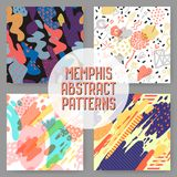 Fashion Hipster Abstract Memphis Seamless Pattern Set. Geometric Shapes Brush Background. Trendy 80s 90s Composition. Vector illustration Stock Photo
