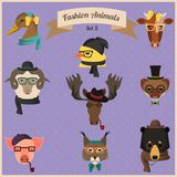 Fashion Hipster Animals set 5. Cute fashion Hipster Animals with flat design. Vector Illustration Stock Photography