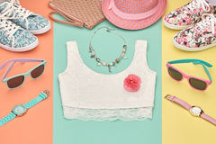 Fashion Hipster girl clothes Outfit. Spring Design Royalty Free Stock Images