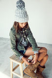 Fashion hipster girl Stock Images