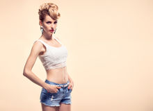 Fashion Hipster girl in Stylish glamour Outfit Stock Image