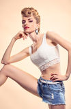 Fashion Hipster girl in Stylish glamour Outfit Royalty Free Stock Photography