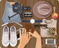 Fashion hipster man set in vintage style. Top view Stock Photos