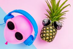 Fashion Hipster Pineapple and pink air balloon on pink color bac Stock Photo