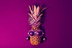 Fashion Hipster Pineapple. Tropical Beach Party Royalty Free Stock Photo