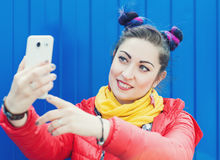 Fashion hipster woman with colorful hair taking selfie Royalty Free Stock Images