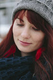 Fashion hipster young woman party model smile pretty freckles face ginger hair. Stock Images