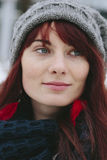Fashion hipster young woman party model smile pretty freckles face ginger hair. Royalty Free Stock Photography