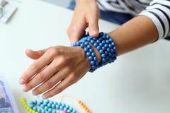Fashion. Homemade blue bracelet Royalty Free Stock Image