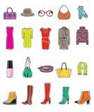 Fashion icon set. Vector illustration of fashion on white background Stock Photos