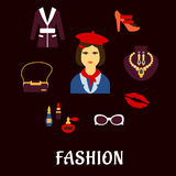 Fashion icons with accessories and jewelries Stock Photo