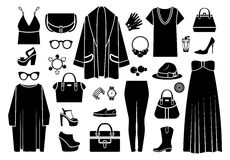 Fashion icons. Clothing and accessories Stock Photography