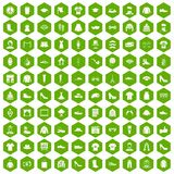 100 fashion icons hexagon green. 100 fashion icons set in green hexagon isolated vector illustration Royalty Free Stock Photo