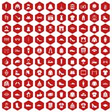 100 fashion icons hexagon red. 100 fashion icons set in red hexagon isolated vector illustration Stock Photo
