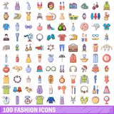 100 fashion icons set, cartoon style. 100 fashion icons set. Cartoon illustration of 100 fashion vector icons isolated on white background Stock Images