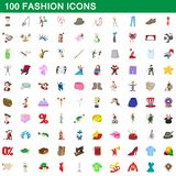 100 fashion icons set, cartoon style. 100 fashion icons set in cartoon style for any design illustration stock illustration