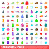 100 fashion icons set, cartoon style. 100 fashion icons set in cartoon style for any design vector illustration Stock Illustration