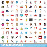100 fashion icons set, cartoon style Royalty Free Stock Photography