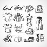 Fashion Icons Set. Fashion decorative icons set with glasses hat bag dress sketch isolated vector illustration Stock Illustration