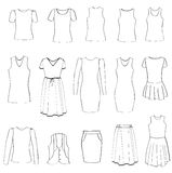 Fashion icons set. Female cloth collection. Royalty Free Stock Images