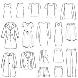Fashion icons set. Female cloth collection. Royalty Free Stock Photos