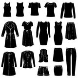 Fashion icons set. Female cloth collection. Stock Images