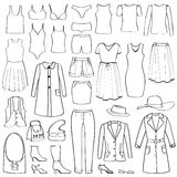 Fashion icons set. Female cloth collection. Royalty Free Stock Photo
