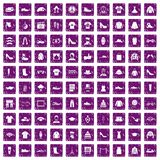 100 fashion icons set grunge purple. 100 fashion icons set in grunge style purple color isolated on white background vector illustration Royalty Free Stock Photos