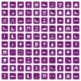 100 fashion icons set grunge purple. 100 fashion icons set in grunge style purple color isolated on white background vector illustration Royalty Free Illustration