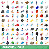 100 fashion icons set, isometric 3d style Royalty Free Stock Photos