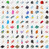 100 fashion icons set, isometric 3d style. 100 fashion icons set in isometric 3d style for any design vector illustration Stock Image