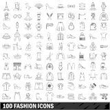 100 fashion icons set, outline style. 100 fashion icons set in outline style for any design vector illustration Royalty Free Stock Photo