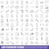 100 fashion icons set, outline style Royalty Free Stock Photography