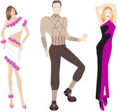 Fashion illustration. With three hand drawn models Royalty Free Stock Images