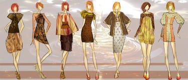 Fashion Illustration. Illustration of 7 feminine figures Stock Images